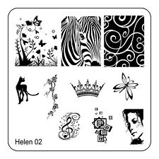 Manicure Template Stainless Steel Nail Art Stamping Plates Scraper Stamper He-02