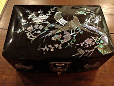 Mother of Pearl Jewelry Box Korean Traditional Handmade LACQUER WORK VTG but NEW