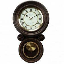 BEDFORD*Black Oak HOME/OFFICE Contemporary ROUND Wall Clock*with PENDULUM&CHIME