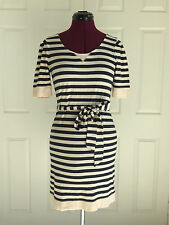 Banana Republic Navy Beige Striped SS Cotton Back Zip SS Tee Shirt Dress Sz S