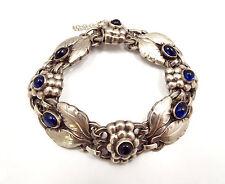Vintage Georg Jensen Denmark Sterling Silver Bracelet No. 3 with Sapphire