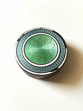 Antique french pill box sterling silver enamel guilloche