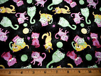 Quilting Fabric 1 1/8 Yd Whimsical Cats Cat Kitty Playing on Black Cotton