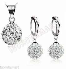 Lady Women 92.5 sterling silver crystal necklace earring stud jewelry set Gift