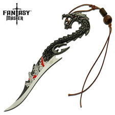 Fantasy Master Oriental Dragon Fixed Blade Knife Sword with Wooden Display Stand