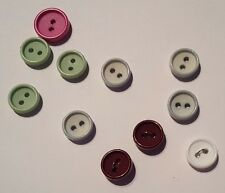 11 Indented Ring Buttons (12mm and 15mm, assorted colours, two-hole)