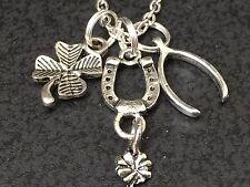 "Western Horseshoe Clover Good Luck Charm Tibetan Silver 18"" Necklace Mix A"