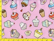 Party Cupcakes on Light Pink Quilting Fabric by Yard  #214