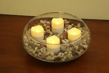 Pacific Accents Set of 4 Ivory Resin Wavy Top Flameless LED Tea Lights w/ Timer