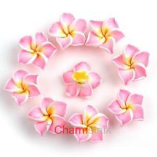 20 Scheiben Neu Rosa Fimo Polymer Clay Blumen Perlen Beads 15mm 111582