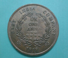 1 Anna UK 1818 Queen victoria East India company 50 gram weighted coin