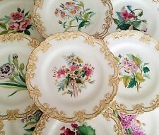Minton England Porcelain Hand Painted Flowers Gilded Dessert 10 plates 1 tazza