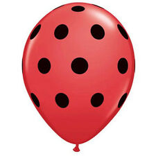 "12 Pack Ladybug Black & Red Polka Dot 11"" Latex Balloon Party Decorating Supplie"