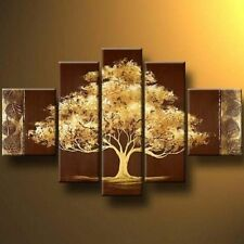 Golden Tree Oil Painting Art Modern Wall Canvas Abstract Wooden Frame Panel New