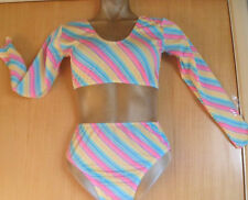 NEON YELLOW PINK SLEEVESLYCRA/CROP AND PANT/11/12 YEAR/FREESTYLE/COSTUME