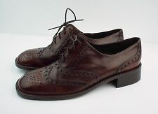 New JOAN & DAVID Size 8 Brown Leather Wingtip Oxfords Flats Shoes Made in Italy