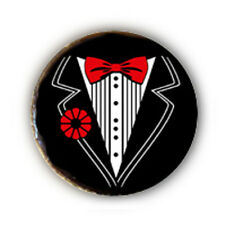 Button Pin Badge SMOKING Black COSTUME Bow Tie Rock Punk style pop 1 inch ø25mm
