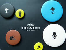 Coach X Peanuts Snoopy Collection Leather Button Badge Pin Brooch X 6 RARE!!