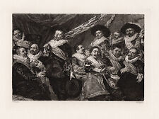 """1800s FRANS HALS Etching """"Banquet of the Civic Guard of St. George"""" SIGNED COA"""