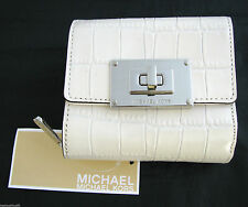 NEW MICHAEL KORS SLOAN GENUINE CROC. LEATHER VANILLA WHITE SM BIFOLD WALLET