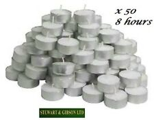 50 PACK Candles tea lights tealights 8 HOURS LONG BURN nightlight