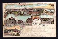 111844 AK Ludwigshafen am Rhein Litho Markt Bahnhof Rheinbrücke Post 1900