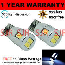 2X W5W T10 501 CANBUS ERROR FREE WHITE 6 SMD LED SIDELIGHT BULBS BRIGHT SL104005