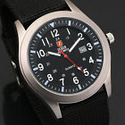 Zeiger Mens Black Nylon Strap Analog Army Military Quartz Sport Wrist Watch Date