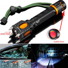 2000LM Tactical Self-Defense Audible Alarm Cree XM-L T6 LED Flashlight US Stock