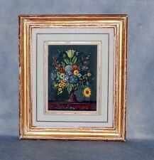 M Gana French Gouache Painting On Paper Elaborate Still Life Flowers In Urn