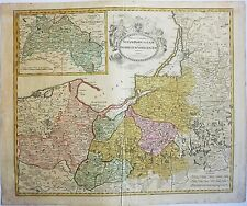 1724 ORIGINAL ANTIQUE MAP LITHUANIA PRUSSIA RUSSIA POLAND BALTIC HOMANN