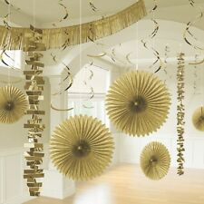 18 x Gold Hanging Paper Party Decorations Golden Party Room Decorating Kit