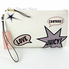 JUICY COUTURE Faux Leather WHITE WRISTLET Black STAR Purple PINK LOVE Clutch