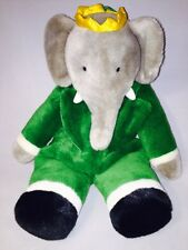"Vintage Babar Barbar Plush Green 18"" Elephant Backpack Mango Teddy Bear Co."