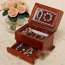 Dollhouse Miniature Jewelry Box case w/ drawer Brown Wood storage organizer