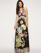 Mango Bold Floral Print Halter Maxi Evening Dress Size S UK 10/EU 38/US6 rrp£120