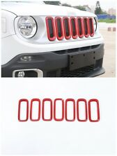 Car Front Grille Inserts Mesh Grill Accessories for Jeep Renegade 15-16 -Red