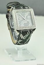 NWT Watch GUESS Black Leather Snake Print Ladies New U0050L1