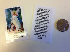 SMALL HOLY PRAYER CARDS FOR GUARDIAN ANGEL IN SPANISH SET OF 2 (ANGEL DE GUARDA)
