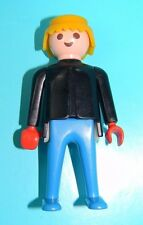 Playmobil 1974 Klicky Man Classic Blonde Hair Black Shirt Blue Pants to #3565