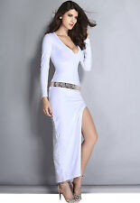 New Sexy White Long Sleeve Belted Deep Plunging V-Neck Plunge Dress w/ Belt 16
