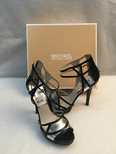 Michael Kors Jaida High Spike Heel Sandal Platform Black Silver Leather 9.5 M
