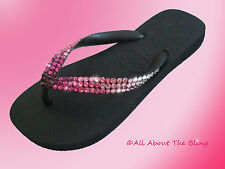 Havaianas flip flops or Cariris Wedge with Swarovski Crystals Pink Ombre