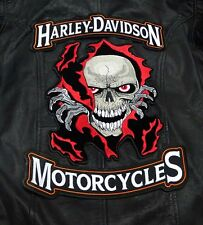 HARLEY 12 INCH TOP BOTTOM ROCKER WITH  SKULL RIP 10 INCH 3PC BACK PATCH