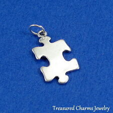 .925 Sterling Silver PUZZLE PIECE CHARM Jigsaw Puzzle AUTISM Awareness PENDANT