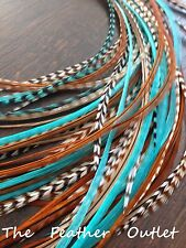 Lot 25 Grizzly Feathers Hair Extensions saddle Turquoise Natural Browns AQUA NAT
