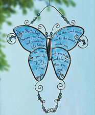 Abbey Press Glass Butterfly Window Hanging with Screen-Printed Message