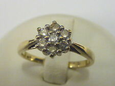 Ladies 9ct Gold 25pt Diamond Cluster Ring - Size J 1/2