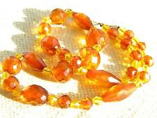 Art Deco faceted AMBER beads necklace  ~ crystal glass spacers ~