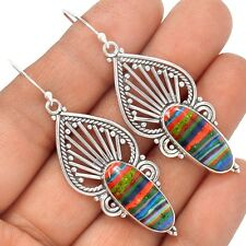 Rainbow Calsilica 925 Sterling Silver Earrings Jewelry SE125579